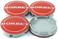 4x Original Borbet Nabendeckel | Felgendeckel | Nabenkappe Rot Center Cap 55mm NEU!