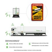 5 x Aufkleber Toter Winkel ANGLES MORTS LKW >3,5 t Made in Germany TOP-Qualität