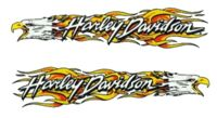 Harley Davidson Aufkleber Set Adler Flammen HD 23 x 5 cm Sticker Eagle Flame