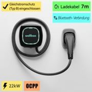 Pulsar Plus Type 2 EV smart charger- 22 KW- WiFi, Bluetooth, Alexa and Google Home - 7m foot cable- indoor /outdoor - Black by Wallbox